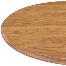 "Wood Grain Pine Round Elasticized Tablecloth Table Cover Vinyl Fitted 40""-44"""