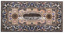 5'x3' Brown Marble Corner Top Dining Table Pietradura Inlay Patio Outdoor Decor