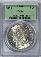 1885 $1 Morgan Silver Dollar PCGS MS63 OGH Old Green Holder