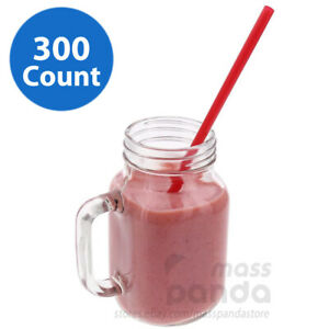 """Sunset 300 ct 10 1/4"""" Red Smoothies/Shake/Drinking Giant Plastic Wrapped Straws"""