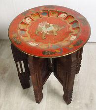 40 cm antik orient Messing Tisch Tablett Teetisch holzgestell tea table tray K34