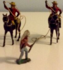 2 x BENBROS 1950s RARE LEAD MOUNTED BUFFALO BILL - HORSE AND RIDER WITH LASSOO +