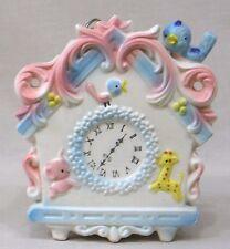 Vintage Nursery Figural Music Box Clock w Bluebirds C7732 Pink & Blue 1950s