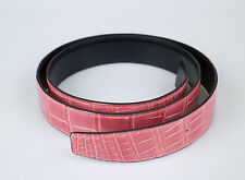 New. HERMES Pink/Black Reversible Crocodile Leather Belt No Buckle 95/38 $5100