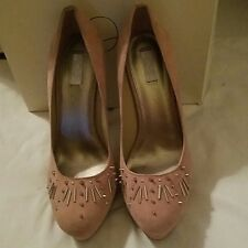 "Rachel Roy ""Lenaya"" Blush Light Pink Suede Spiked Heels 10"