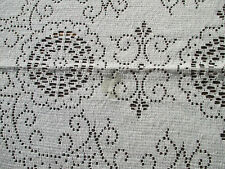 "Tablecloth Quaker Lace Picot Edge Vtg Floral Leaves Center Motif 66"" x 80"""
