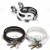 Vintage Ying Yang Taiji Bagua Necklace Braided Leather Couple Cuff Bracelet 4pcs