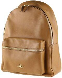 Coach F30550 Charlie Pebble Leather Backpack, Medium - Light Saddle NWT