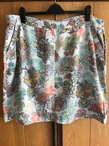 NEXT White Multi Floral Linen Blend A Line Skirt Size 20 Plus Pockets Casual