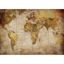 Map Globe World Atlas Antique Wall Art Multi Panel Poster Print 47X33 Inches