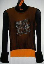 HUEVO BLANCO (NEUF) pull col roulé sympa et original, couleur orange noir, 140€