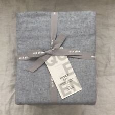 New West Elm Flannel Sheet Set Queen Graphite Gray