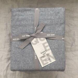 New West Elm Flannel Sheet Set Queen Graphite Gray