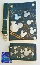 Disney Silver / Black Mickey Mouse Passport Holder Purse and Tri Fold Wallet