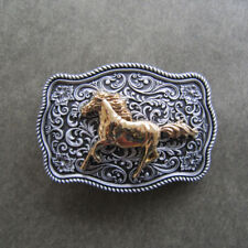 Western Flower Pattern Running Horse Metal Belt Buckle