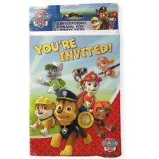 Nickelodeon Paw Patrol Party Invitations Thank You Card Envelope Set 8 Each