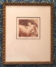 1975 Nude Framed Etching Limited Edition Signed & Dated w/Docs by Karen Levy