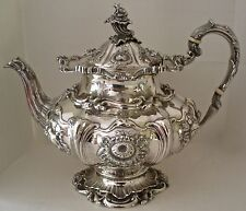 AMAZING AMERICAN COIN SILVER FIGURAL BIRD CLAW TEAPOT WILLIAM FORBES 43 TROY OZ