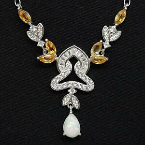 World Class 3.00ctw Opal, Citrine & Diamond Cut White Sapphire 925 Necklace 7g