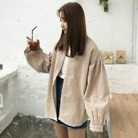 Womens Casual Corduroy Coat Baggy Loose Jacket Vintage Blouse Shirt Oversize Top