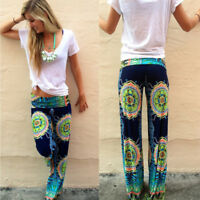 S-4XL Women's Summer Floral Pants Casual High Waist Flare Wide Leg Long Trousers
