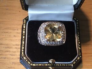DELIGHTFUL 925 SOLID STERLING SILVER TOPAZ CITRINE COCKTAIL RING SIZE 6.5