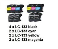 10 x Generic LC-133 LC133XL ink cartridges For Brother J752 J4510 J6720 J6920