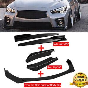 For Infiniti Q50 Q60 Sport Front Bumper Spoiler+Side Skirt+Rear Lip Glossy Black