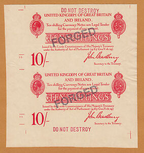 "England Bradbury UNCUT 10 Shillings 1914 Stamped ""FORGED"" Old Period UNC"