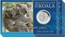10 Pack Australia 2012 Koala Sleeping 10 Cents Pure Silver 1/10 Oz Dime in Card