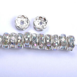 Wholesale 100Pcs Quality Crystal Rhinestone SILVER PLATED Rondelle Spacer BEADS