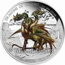 Tuvalu 2013 Dragons of Legend Hydra Three 3 Headed Bulgarian $1 Silver 2012 #788