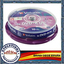 TARRINA 10 DVD+R DL DOBLE CAPA VERBATIM 8.5GB 8X ORIGINALES DUAL LAYER NUEVO