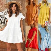Women Ladies Summer Smock Dress Holiday Beach Casual Loose Frill Swing Sundress