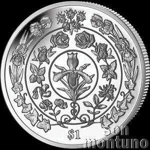 2017 FLOWERS OF LOVE Platinum Wedding Anniversary Unc CUNI Coin BVI $1 Dollar