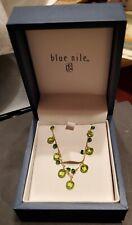 Blue Nile Peridot&Chrome Diopside Statement Necklace 14k Yellow Gld Rtl $400 NIB