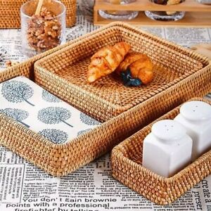 Square Round Bread Fruit Food Basket Hand-woven Rattan Storage Tray Home Decor