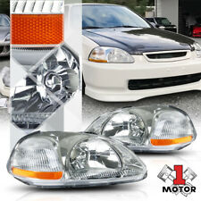 Chrome Housing Headlight Amber Corner Signal Reflector for 96-98 Honda Civic