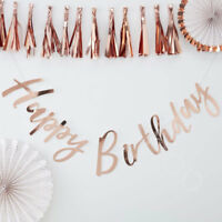 Rose Gold Happy Birthday Bunting Banner Hanging Garland Party Decoration - 1.5m
