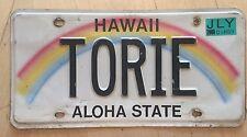 "HAWAII RAINBOW VANITY LICENSE PLATE "" TORIE ""  TORI  VICTORIA"