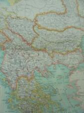 MAP c1900 TURKEY & GREECE BARTHOLOMEW ATLAS COLOUR LITHOGRAPH