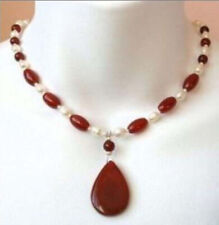 """Stunning 7-8mm white pearl red ruby gemstone drop pendant necklace 18"""""""