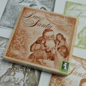 Inkadinkado Rubber Stamp Dear Santa Claus Christmas Collage Vintage Style Crafts