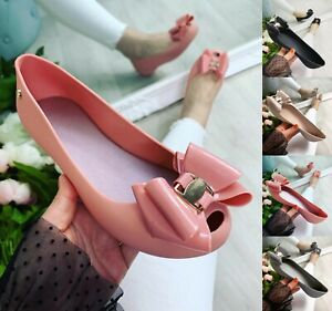 WOMENS LADIES NEW FLAT BALLERINA PEEPTOES SANDALS SUMMER JELLY PUMPS SHOES SIZE