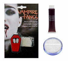 Vampire Halloween SET inc Fangs, Fake Blood and White Snazaroo Paint Fancy Dress