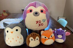 "Squishmallows Lot of 6 Owl Squirrel Fox Pegasus Tie Dye Sprinkle Sloth 11-8-5"""
