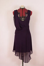 Karen Millen 8/10 S/M 100% silk purple cocktail dress with necklace beautiful!