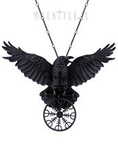 Restyle Helm of Awe Raven Pendant Nordic Talisman Black Crow Healing Necklace