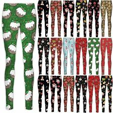 Ladies Christmas Leggings Womens Xmas Santa Gift Present Tartan Candy Jeggings