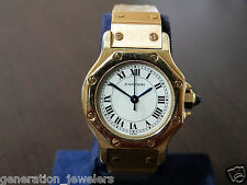 Ladies 25MM 18K Yellow Gold Cartier Santos Ronde Automatic Watch Size 4 SMALL